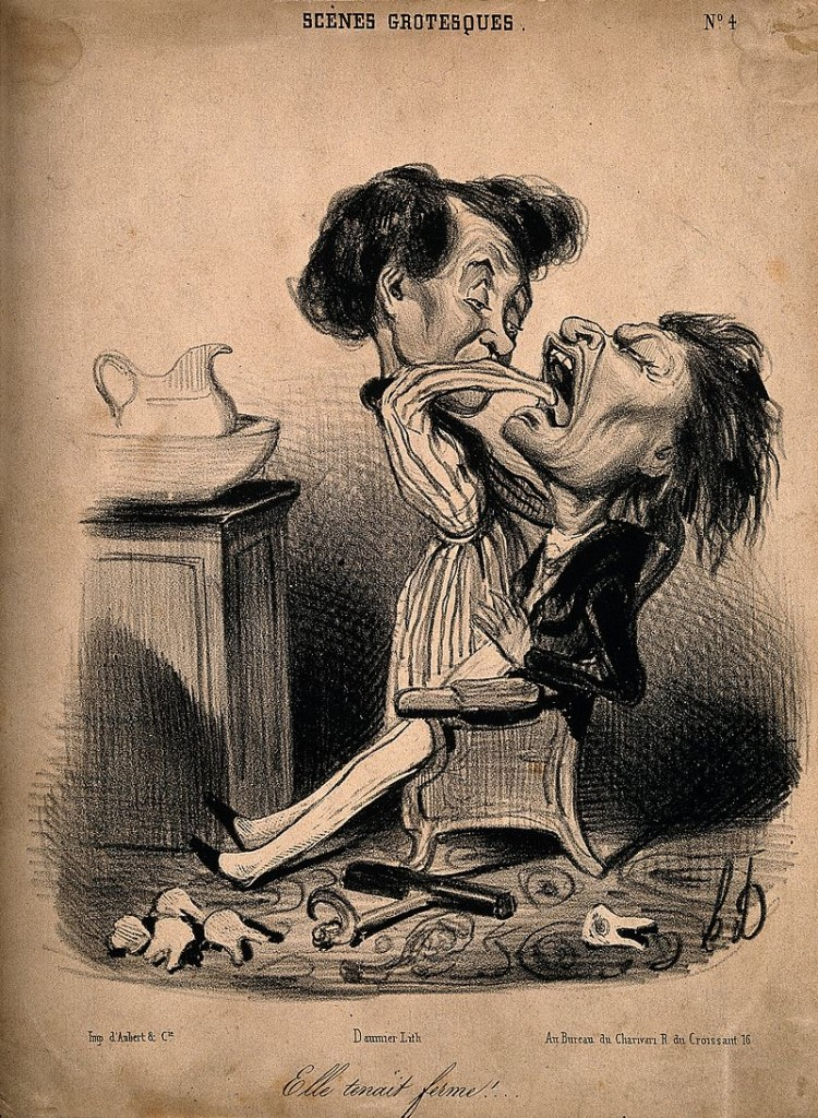 A_woman_reaches_down_into_a_man's_throat_to_pull_out_another_tooth_Wellcome_V0011763