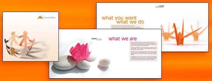 Broșură de prezentare Eurotrading. Făcută de Dexign.
