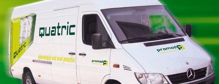 Carbranding pentru mașini de transport ale brandului Promod, Quatric. Făcut de Dexign.