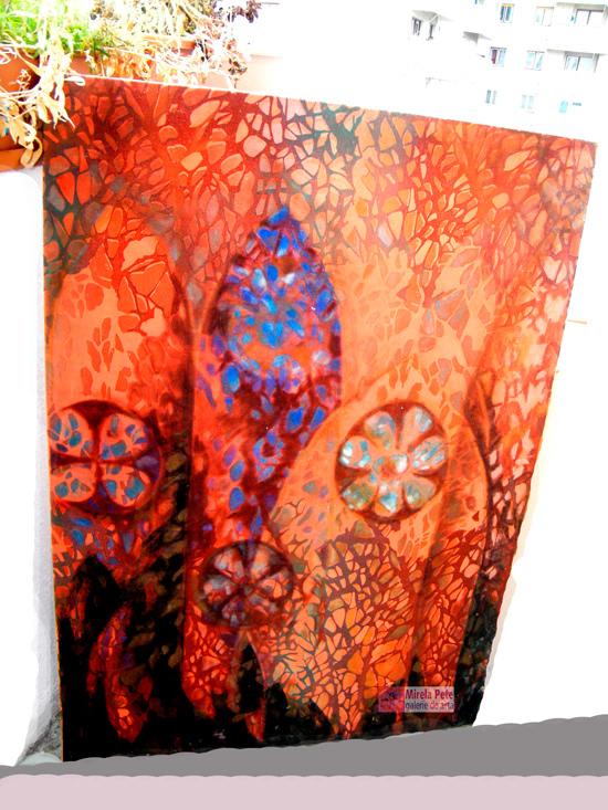 Mirela Pete, Vitralii vegetale pe roșu de catifea