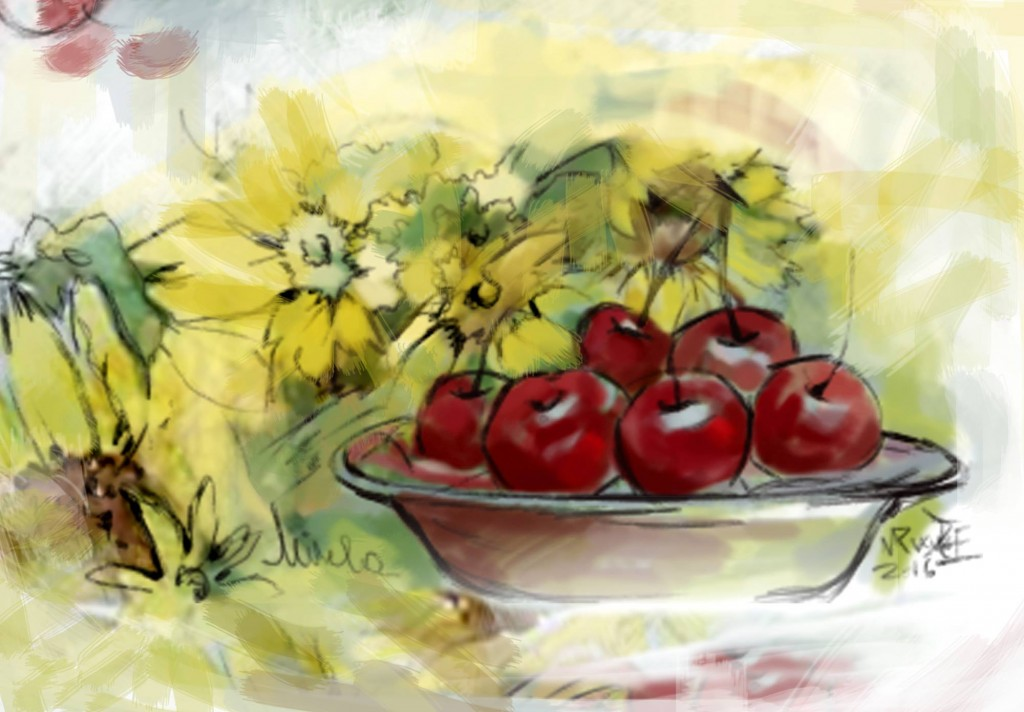 Cireșele din Iunie, pictură de Mirela Pete