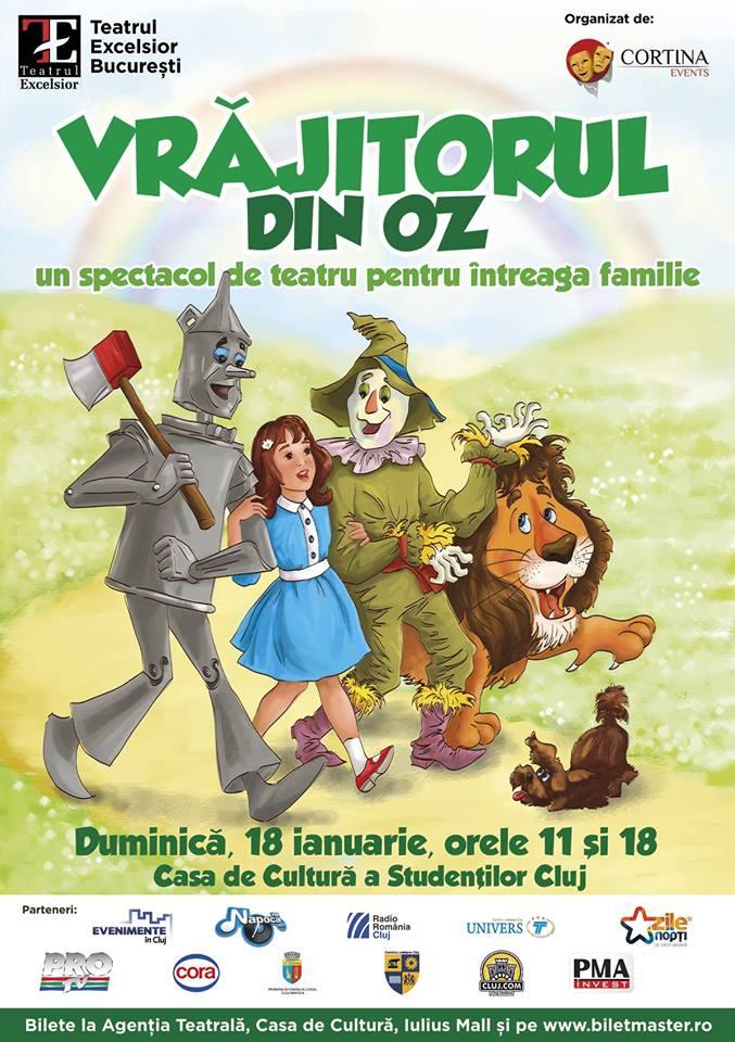 Vrăjitorul din Oz. Afișul spectacolului este realizat de firma Dexign, cu un desen semnat de Mirela Pete.