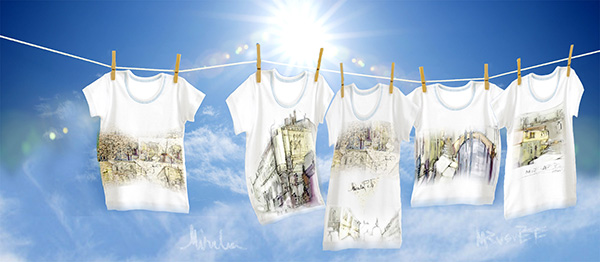 tricouri albe cu imprimeuri inspirate din acuarelele realizate de mine în Veneția