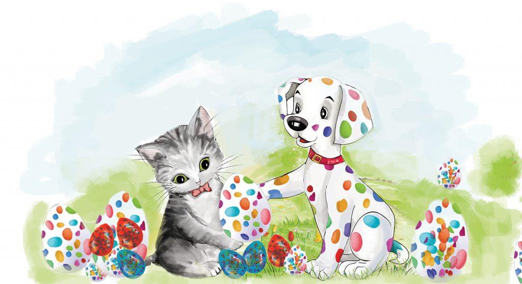 Pupo, catelul cu buline colorate si Miti, prietena lui. Illustration by Mirela Pete