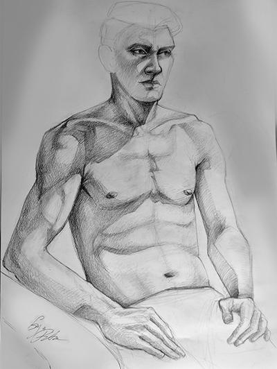 Enya Pete, grafică. Studiu de portret după model, atelier.